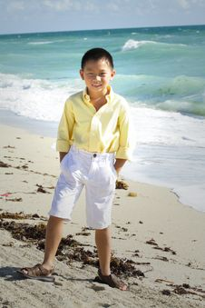 Free Boy Modeling By The Ocean Royalty Free Stock Photos - 6419738