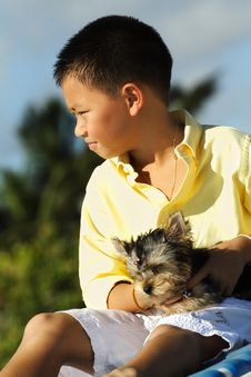 Free Young Boy Holding His Puppy Royalty Free Stock Photo - 6419745