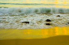 Wave Breaking On Noosa Beach,Australia At Sunrise Royalty Free Stock Images