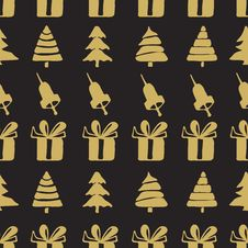 Free Seamless Patterns Bells, Boxes And Fir-trees Royalty Free Stock Photo - 64184565