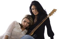 Two Girl Freind Musicians Resting Stock Image