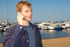 Free Young Stylish Man Talk On Mobile Phone Stock Photo - 6421460