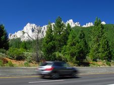 Free Castle Crags With Speeding Car Royalty Free Stock Images - 6421629