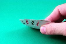 Poker Ace In Hand Stock Photography
