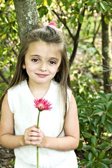 Free Girl With Pink Flower Stock Images - 6422894