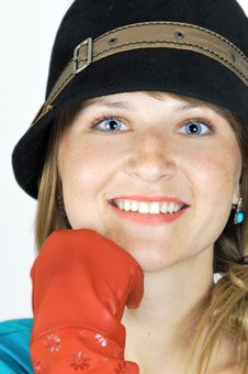 Free Pretty Blue Eyed Girl In Hat Royalty Free Stock Photo - 6423465