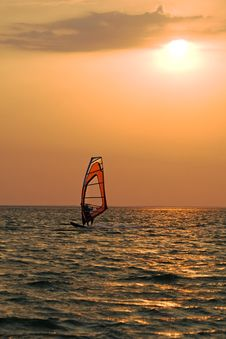 Free Silhouette Of A Windsurfer Royalty Free Stock Images - 6423789