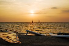 Free Silhouette Of A Two Windsurfer Stock Photography - 6423792