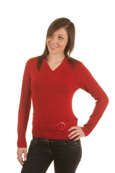 Free Girl In Red Belted Sweater Royalty Free Stock Images - 6425409