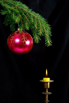 Free Fir-tree  Twig And Red Ball And Candle Royalty Free Stock Images - 6425429