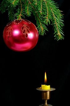 Fir-tree  Twig And Red Ball And Candle Stock Image