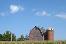Barn, Silo And Sky Stock Photos