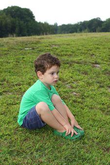 Little Boy Outdoors Stock Photo