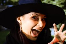 Free Screaming Witch In Hat Stock Photo - 6426980