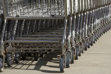 Free Stack Of Empty Shopping Carts. Wheels. Stock Photos - 6428053