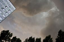 Dark Clouds Above Flat Royalty Free Stock Photo