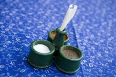 Free Salt, Pepper And Paprika At Table Stock Photography - 6428272