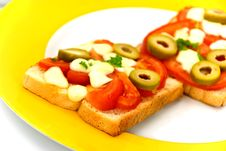 Free Tasty Toast With Vegetables .a Close Up Shot Stock Image - 6429321