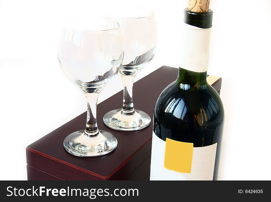 Red wine bottle and box