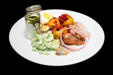 Free Herring With Boiled Potatos And Cucumber Salad Stock Photo - 6430230