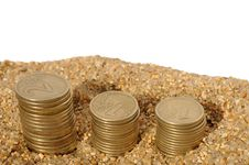 Free Money Coins Pyramids In The Sand Stock Photography - 6431032
