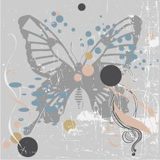 Free Vector Grunge Background With Butterfly Stock Photography - 6432582