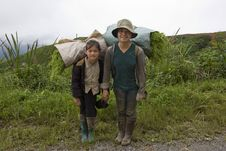 Free Hmong Transports Vegetables To The Valley, Laos Stock Photo - 6434870