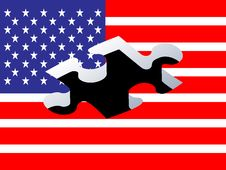 Piece Of Puzzle With American Flag Stock Photos