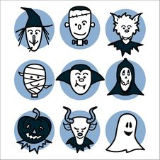 Free Halloween People Blue Royalty Free Stock Image - 6435346