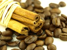 Free Cinnamon And Coffee Beans Stock Images - 6435504