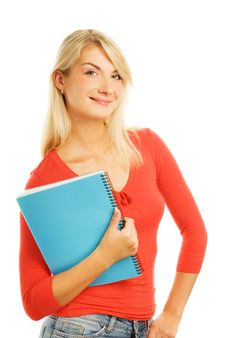 Free Teenage Girl With Notebooks Stock Photography - 6435682