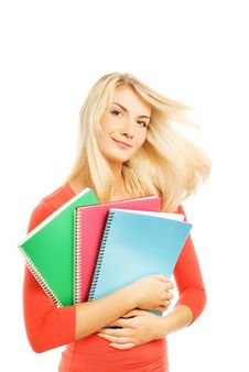 Free Teenage Girl With Notebooks Royalty Free Stock Photos - 6435738