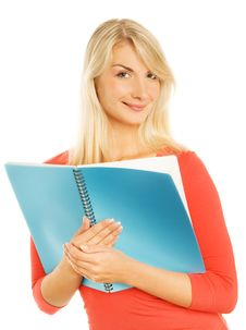 Teenage Girl With Notebooks Royalty Free Stock Photo