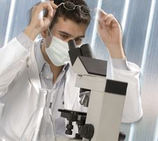 Young Scientist Discovering Something Stock Images