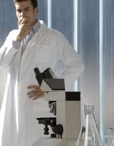 Free Young Scientist Thinking In His Lab Royalty Free Stock Photo - 6437155