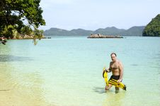 Free Man With In Water With Snorkeling Gear Stock Photography - 6439652