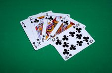 Free Clubs Royal Flush Stock Images - 6439784