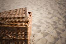 Free Picnic Basket On The Beach Stock Images - 6439794