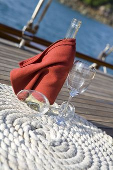 Bottle Of Wine On A Yacht Royalty Free Stock Photos