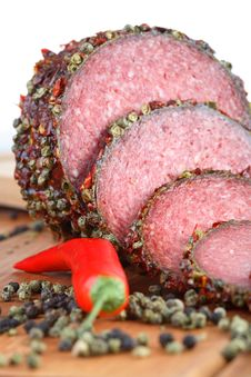 Salami With Red Pepper Royalty Free Stock Image