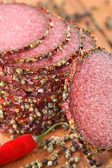Salami With Pepper Grains And Chili Royalty Free Stock Images