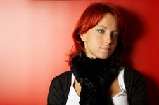 Free Cute Woman Over Red Stock Photo - 6440630