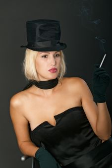 Blonde Variety Show Woman With Cigarette. Royalty Free Stock Photo