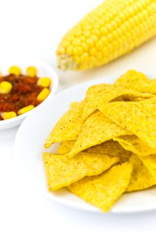 Free Glass Bowls Of Salsa - Dip And Tortilla Chips In K Stock Photography - 6441672