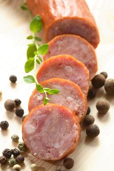 Slices Of Sausage And Pepper Stock Images