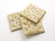 Free 3 Salted Crackers On White Royalty Free Stock Photography - 6442307