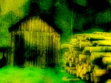 Old Shed And Log Pile Royalty Free Stock Photo