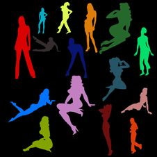 Color Silhouettes Of The Sexy Girls Stock Images