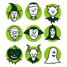 Free Halloween People Green Royalty Free Stock Image - 6443546