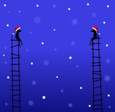 Two On Stairway In The Winter Night Royalty Free Stock Photography